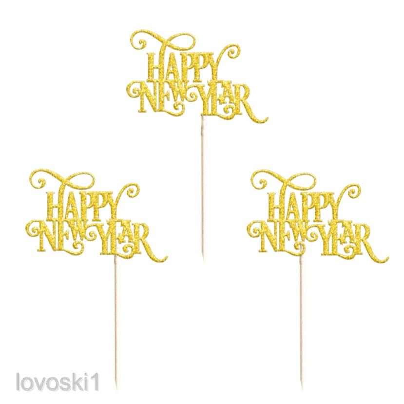 20pcs Glitter Christmas Tree Cake Picks Happy New Year Cake Toppers Food Sticks