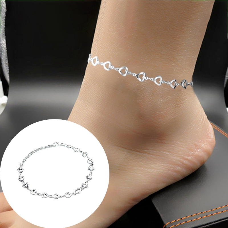 Ankle Bracelet Solid Silver Chain Sterling Silver Heart Clasp Anklet Bridal