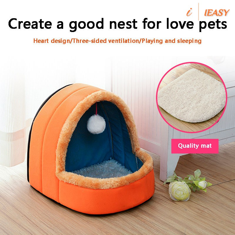 Pet Dog Cat Bed Puppy House With Toy Ball Warm Soft Pet Cushion Dog Kennel Cat Castle Shopee Philippines