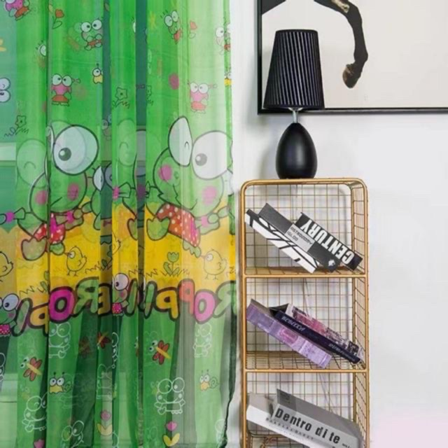 Washable Frog Printed Window Curtain 1M*2M