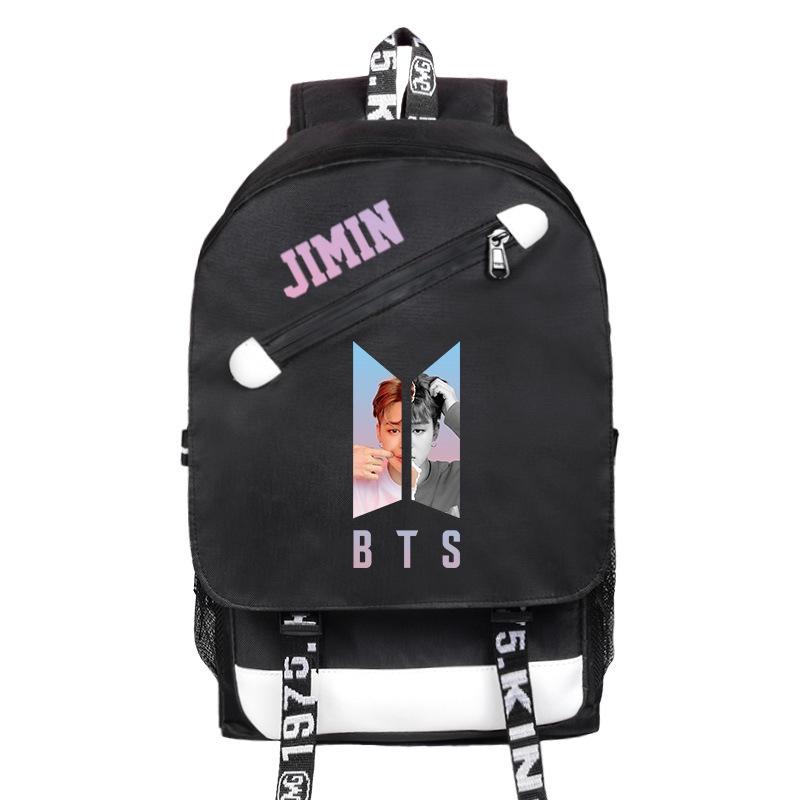 f13d9d914b3 BTS Backpack USB Charging Bag Canvas Bag Sports Bag