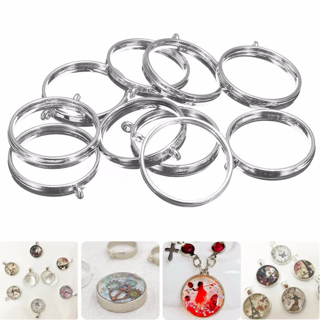 10Pcs Cabochon Base Round Setting Earring Pendant Trays Jewelry DIY Accessories