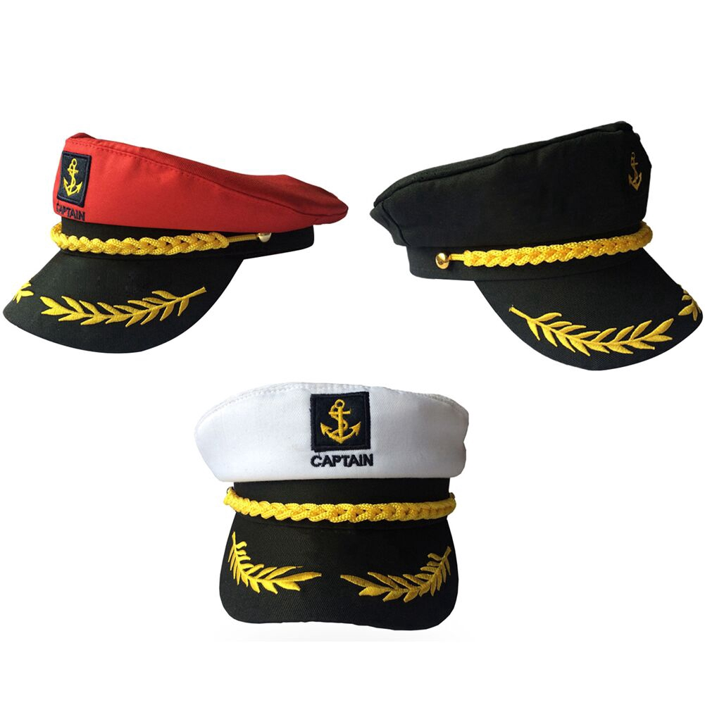 Adult Blue Sailor Captain Hat Peaked Cap Nautical Marine Navy Fancy Dress New