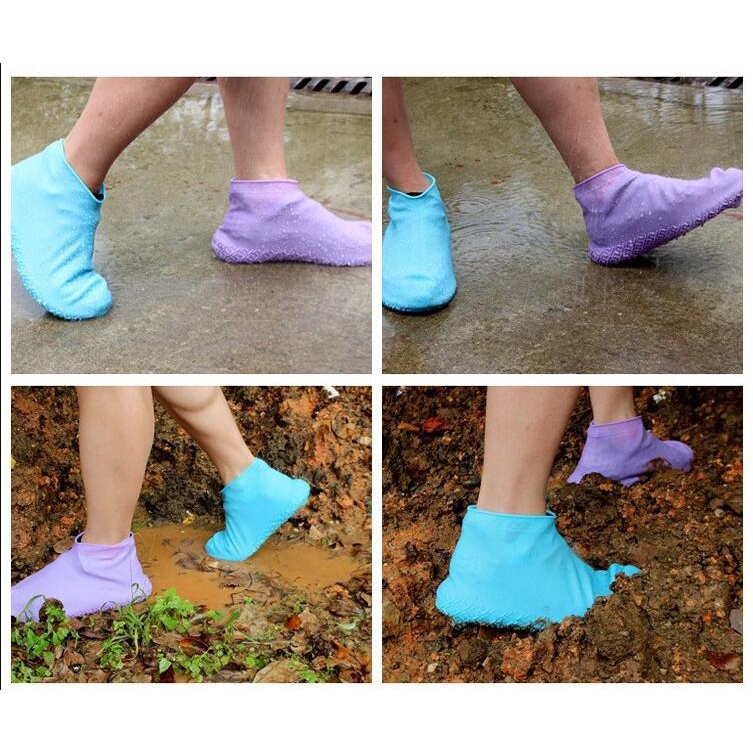 Waterproof Zipper Silicone Shoe Cover Non-slip Padded Portable Boots Foot Cover