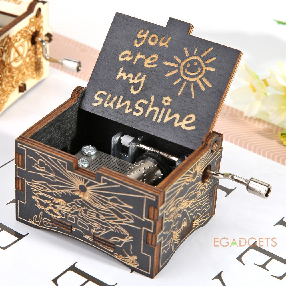 My Sunshine Engraved Hand Crank Wooden Music Box Ornament Kids Toy Gift NEW