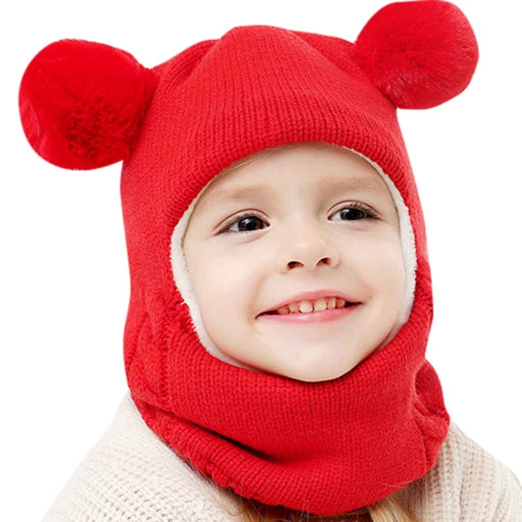 Toddler Kids Baby Boy Girl Hooded scarf Caps Hat Winter Warm Knit Flap Scarf Hat