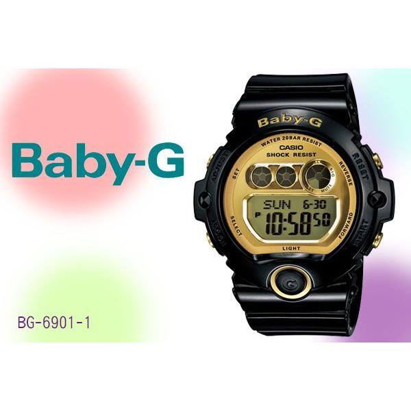 21c1106b3a7e Original Casio Baby-G BG6901-1 Glossy Black Metallic Gold Mirror Face