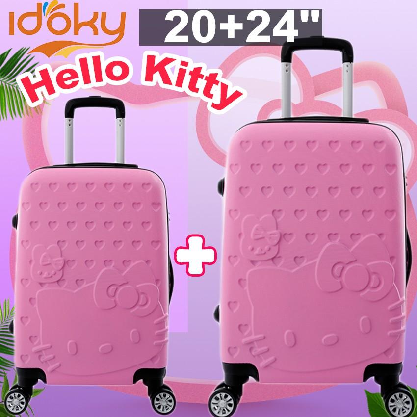 bd9eba646c Idoky ABSHK 2PCS Hello Kitty Suitcase Pink Hard Luggage Cute