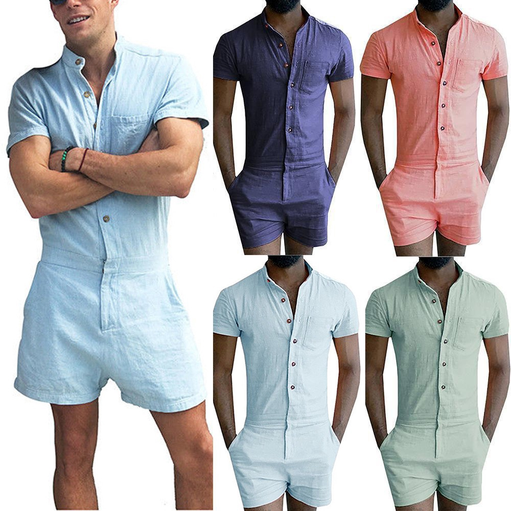 d0d5ac05 Mens Short Sleeve Jumpsuit Pants Rompers Shorts Playsuits   Shopee  Philippines