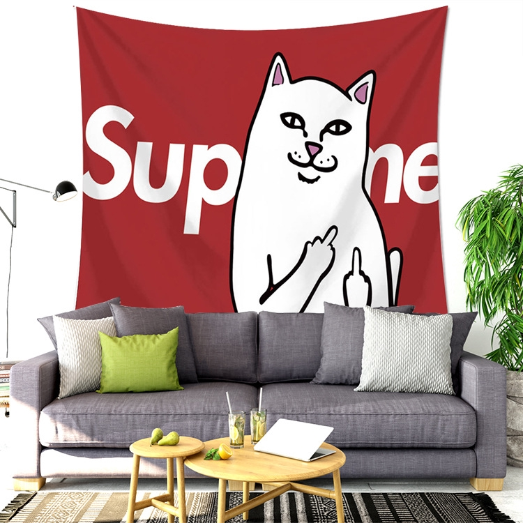 Hipster Supreme White Cat Home Tapestry Wall Hanging Wall Decoration Cloth Shopee Philippines