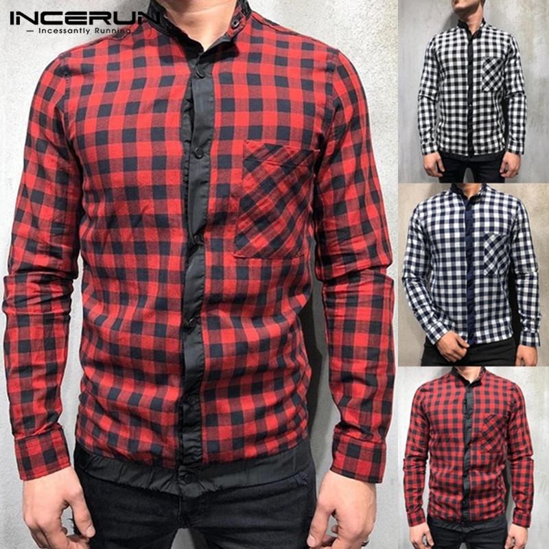 INCERUN Mens Shirts Check Plaid Short Sleeve Blouse Casual Tops T-shirt M-XXXL