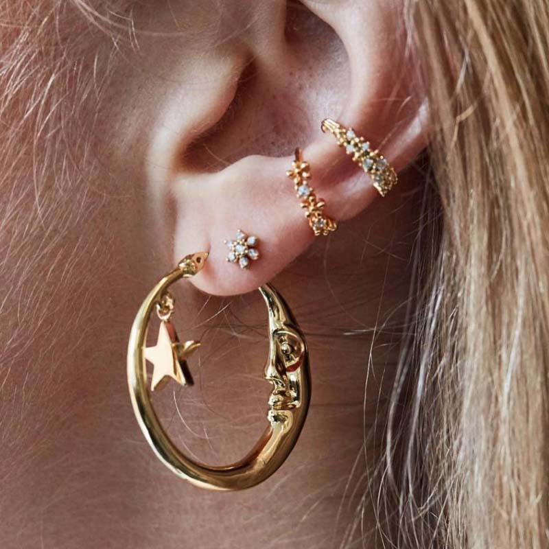 4piece Sets Alloy Earring Lobe Piercing Conch Cuff Shopee Philippines