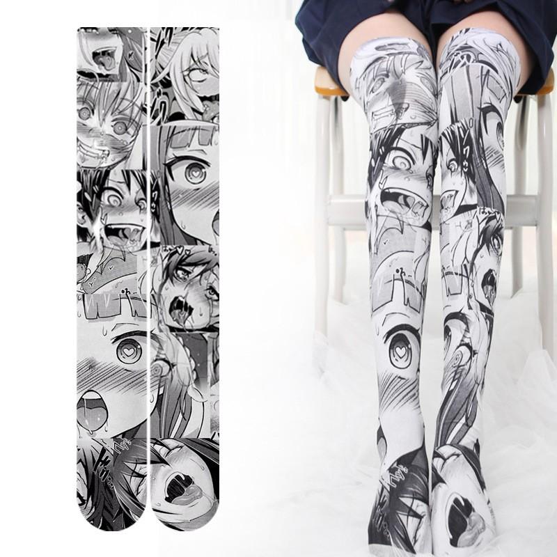 Casual Socks With Japanese Anime Girl Print Thigh High Long Stockings Over Knee Socks