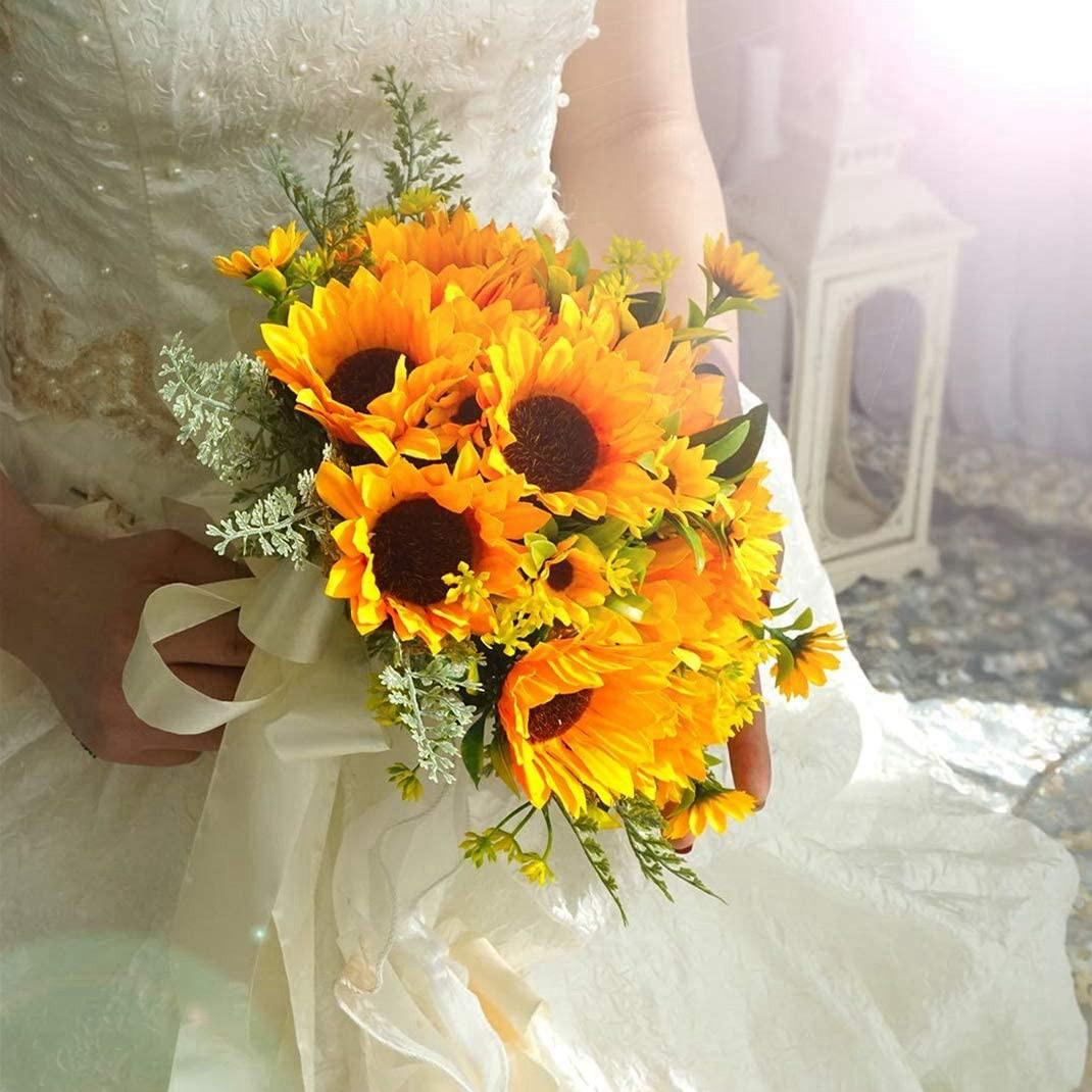 Artificial Sunflowers Bouquet 6pcs Single Long Stem Bridal Wedding Bouquet Yellow Flower Indoor Garden Party Decorations Shopee Philippines