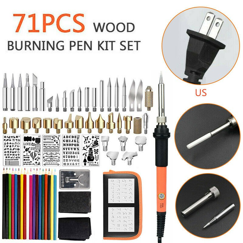 50Pcs Wood Burning Pyrography Pen Kit Soldering Iron Kit,60W 110V Adjustable Temperature Wood Burning Pen with Carving//Embossing//Soldering Tips Stencil Stand Carrying Case
