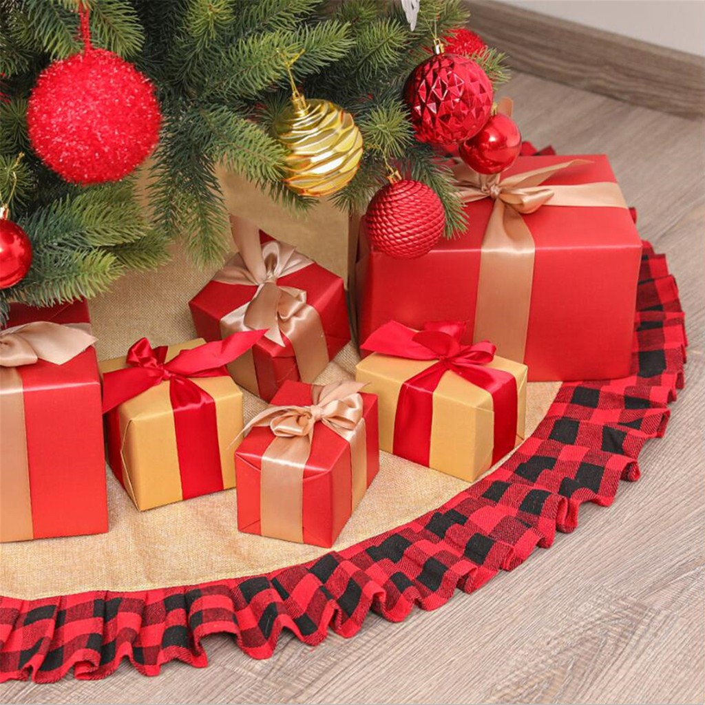Christmas Decoration Supplies Red And Black Plaid Christmas Tree Skirt 120cm Shopee Philippines