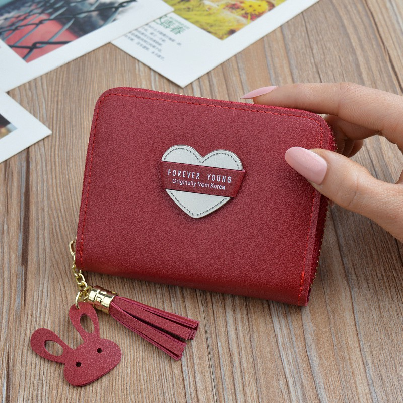 8cec336734e9 Small wallet ladies short zipper tassel love wallet compact