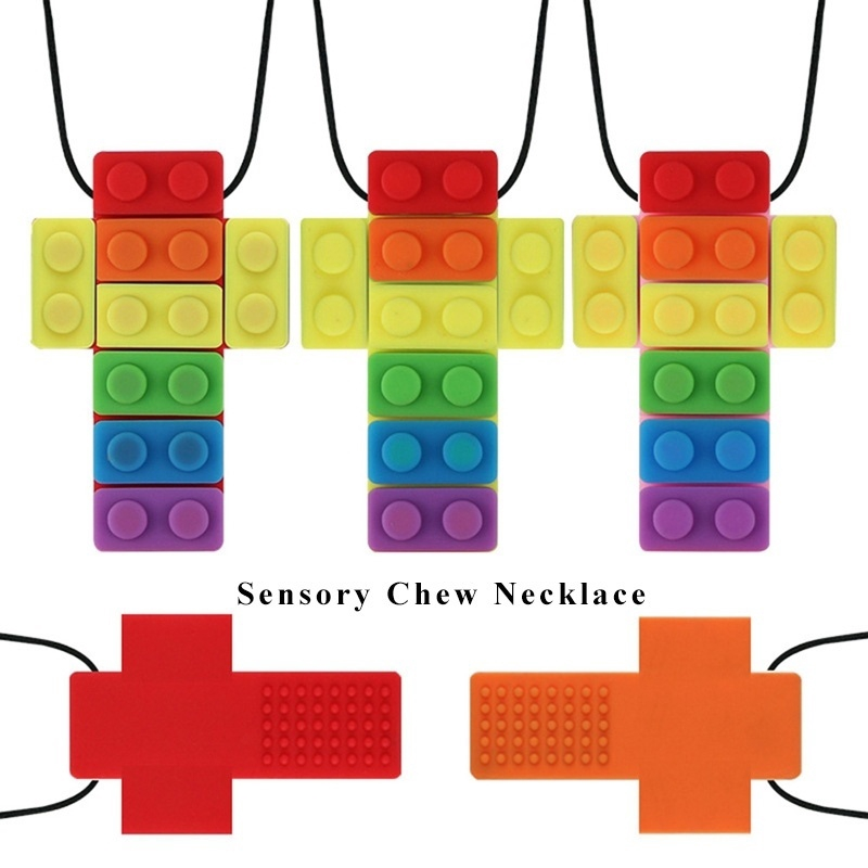 1x Chewing Brick Silicone Sensory Chew Biting Necklace Pendant Kids Autism ADHD,