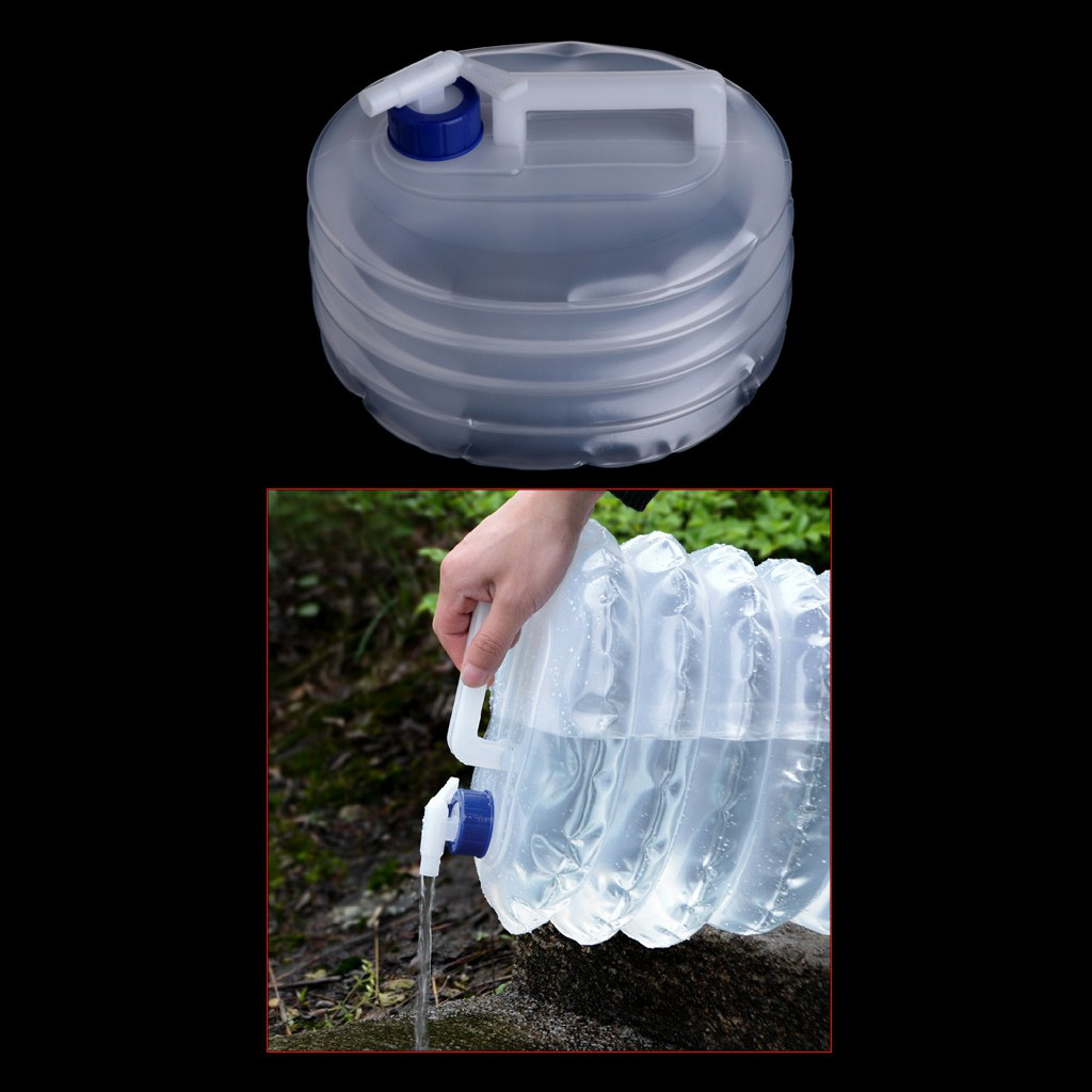 Camping Travel PE Water Bottle Container 15L 10L 5L Picnic Folding Bucket Kettle