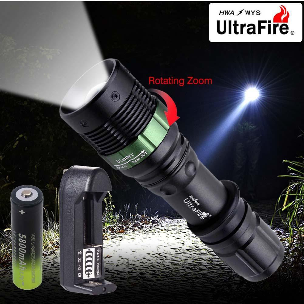 New CREE XML T6 800 lm 5 mode Zoomable LED Flashlight 18650 Battery Dual Charger