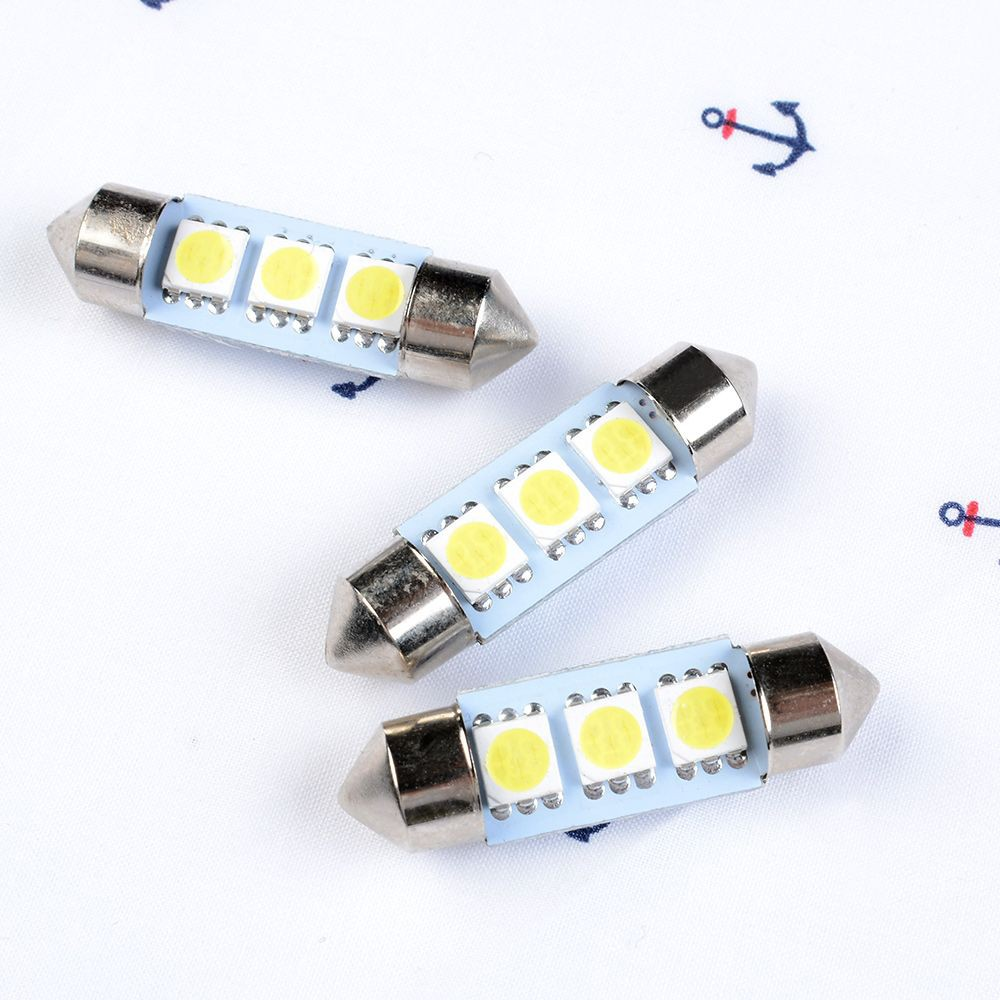 2PC 3423 6411 6418 C5W 36MM LED License Plate Tag Light Bulb 6000K Bright White