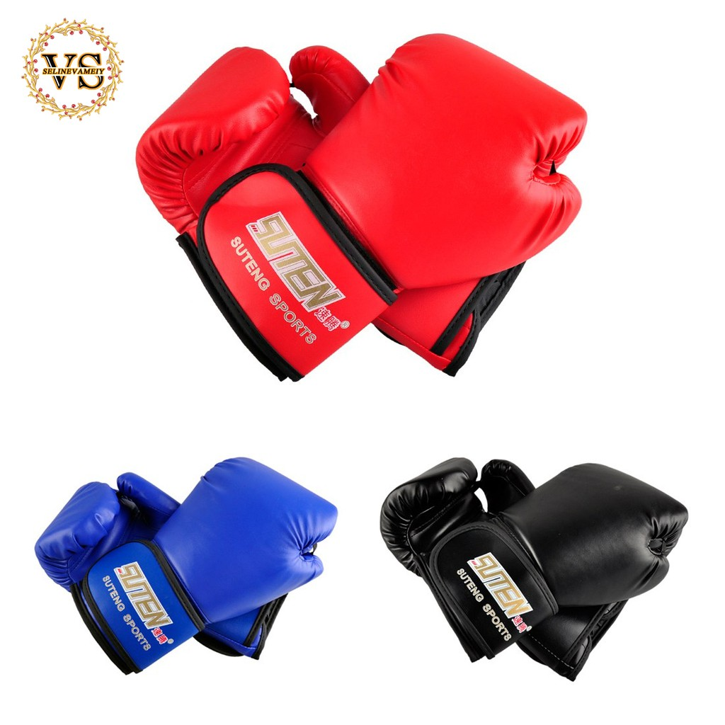 SUTENG PU leather sport training equipment Boxing Gloves(black)