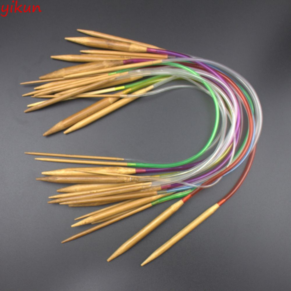 Tube Set Multicolor Plastic Circular Sizes Knitting Needles colored Bamboo 16/""