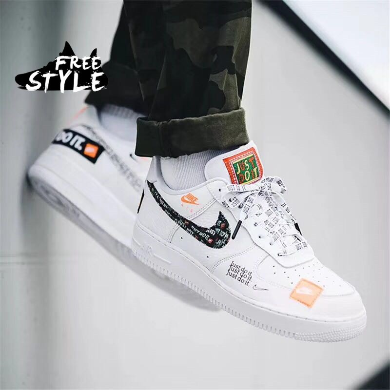 reputable site 5fff2 c56c5 Nike Air Force 1 Just Do It AF1 women and men Low White Sti