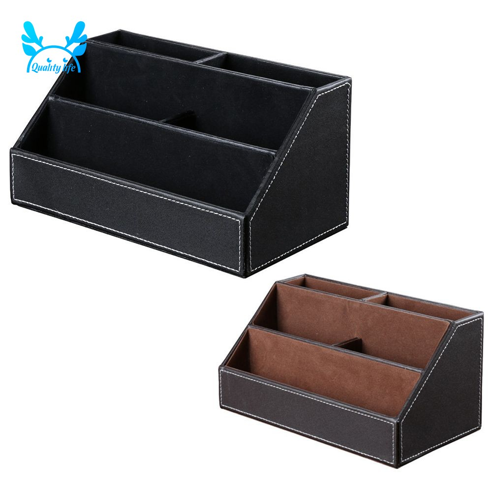 Pen Pencil Desk Holder Cup Genuine Leather with Wooden Structure Case Organizer