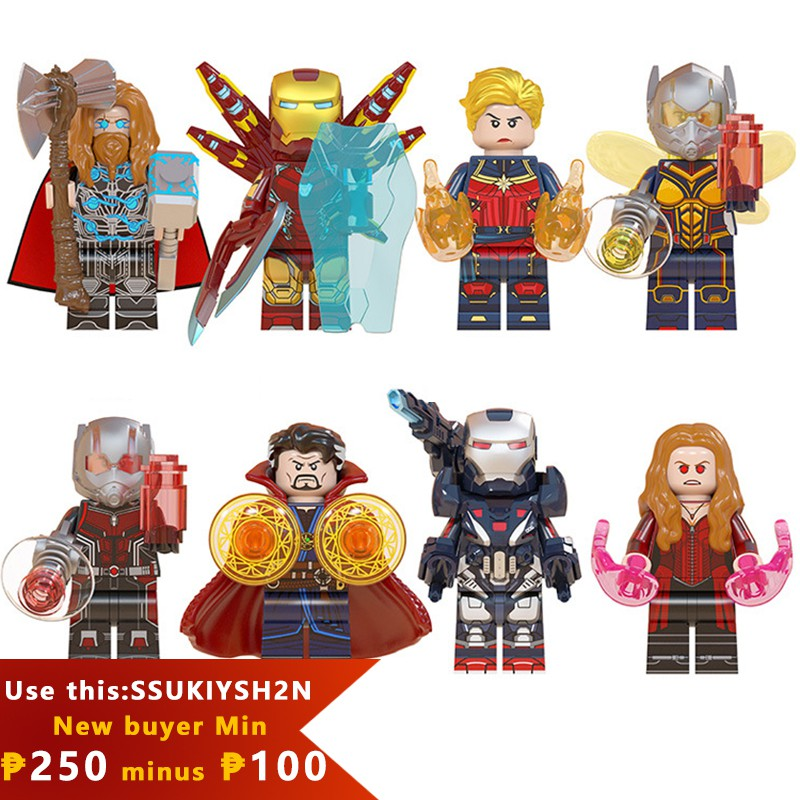 Marvel superhero series Thor Iron Man Captain Marvel Wasp Ant Man Scarlet  Witch lego minifig kid toy