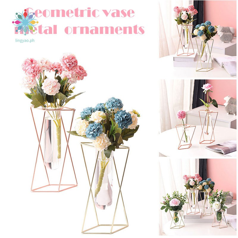 Geometric Vases Wrought Iron Ornaments Living Room Flower Arrangement Home Glass Flower Stand Decoration Shopee Philippines