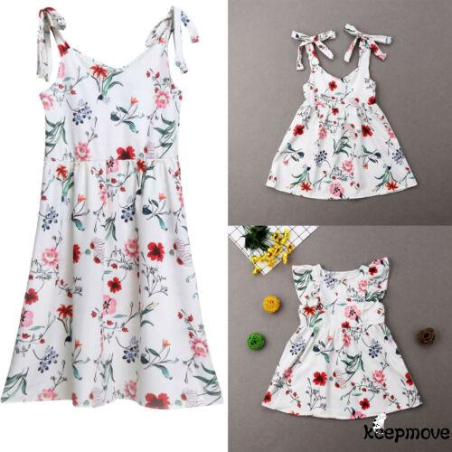 Mother and Daughter Fashion Floral Dresses Casual Family Clothes Outfits Hot
