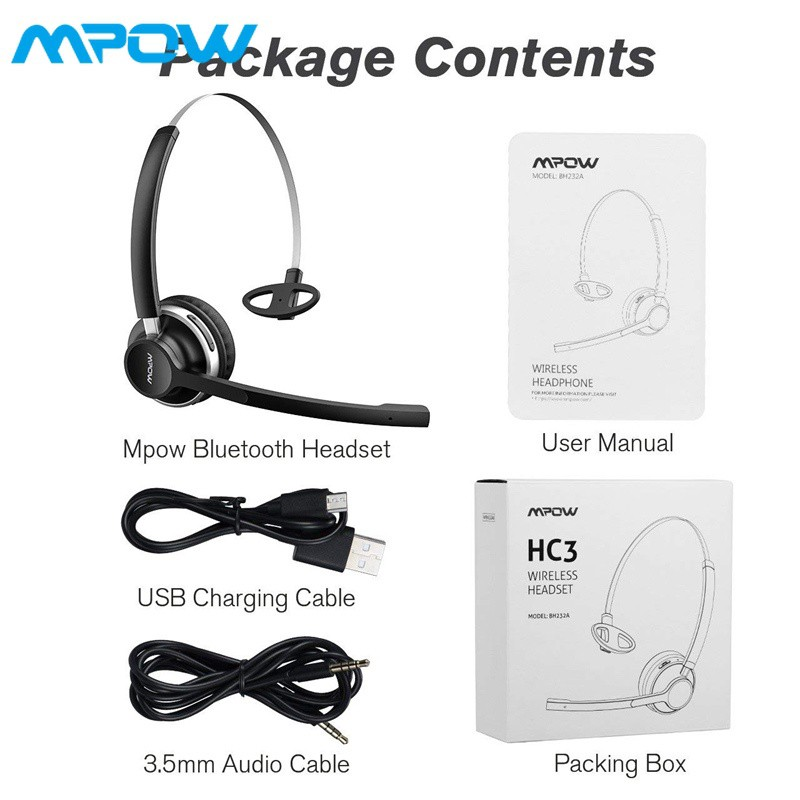 13hr Playtime Trucker Bluetooth Headset W Wired Mode Dual Mic Noise Reduction Car Bluetooth Headphone With Microphone For Driver Skype Call Center Mpow Hc3 Bluetooth Headphones Cell Phone Headset