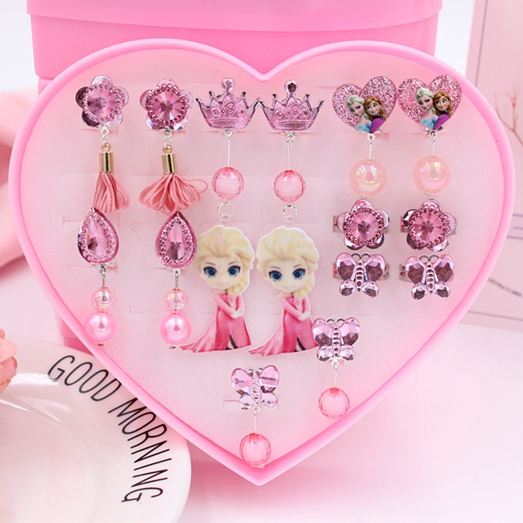 children no ear hole earrings clip+ring set