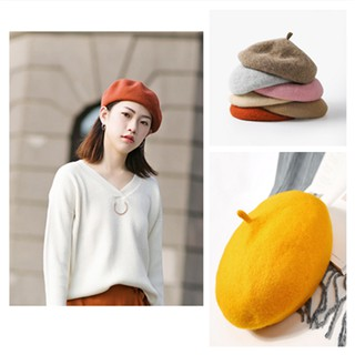 0c38691f5 Women Solid Color Warm Winter Beret French Artist Beanie Hat ...