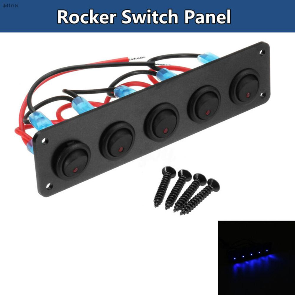 Toggle Switch Panel-12-24V 5 Gang Round Dash Rocker Toggle Switch Panel for RV Boat Yacht Marine Blue