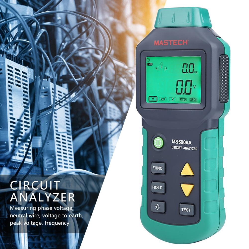 MASTECH MS5908A/C LCD Circuit Analyzer Voltage GFCI Tester