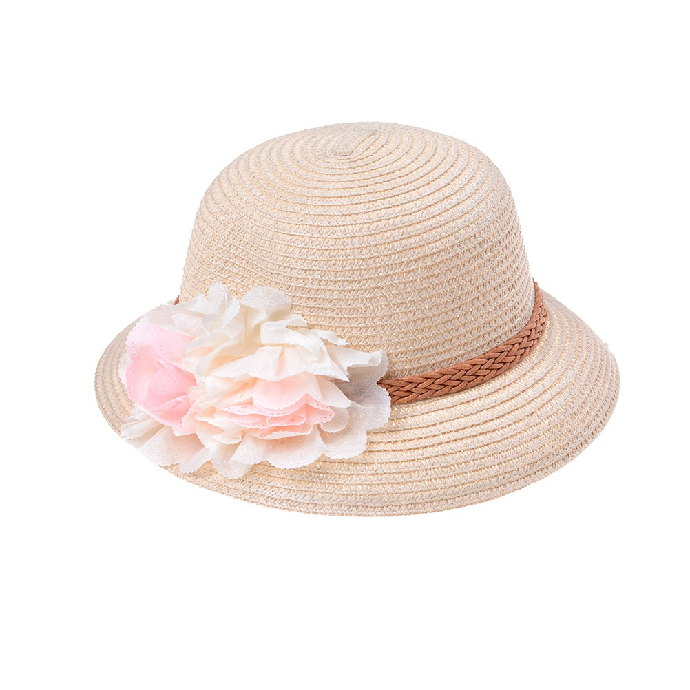 a1a3ef5f ProductImage. ProductImage. Summer Cute Baby Girls Kids Cap Flowers Decor  Straw Beach Sun ...