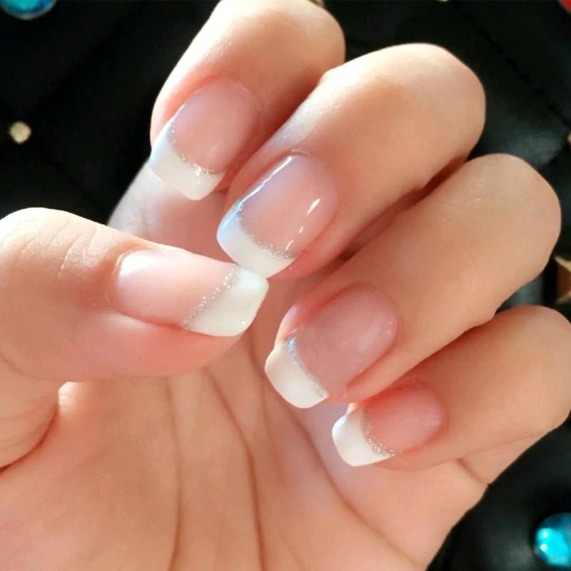 24pcs Set French Style Light Pink Fake Nails Finished Simple Short False Nail Art