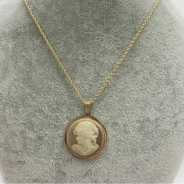 Cameo Style Stone Pendant Charm Necklace Long Chain