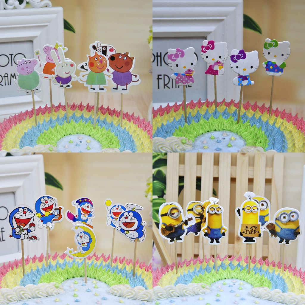 Tremendous 24Pcs Set Hello Kitty Peppa Pig Doraemon Minions Happy Birthday Personalised Birthday Cards Cominlily Jamesorg
