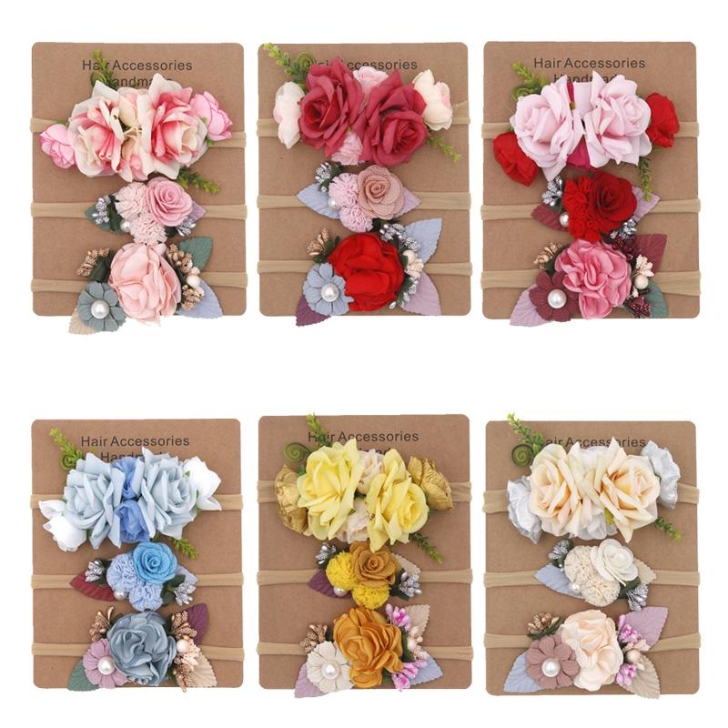 Baby Pink Headband Flower Bows Girls Newborn Elastic Baby Hair Band Turban Gifts