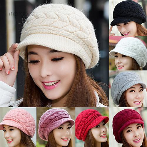 acd36467f ▷Meng◁Women's Winter Solid Color Warm Knitted Baggy Beret Beanie Hat Slouch  Ski Cap