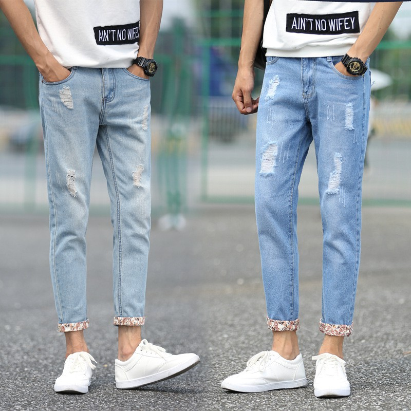 Men's Ankle Length Denim Straight Low-waist Zipper Jeans