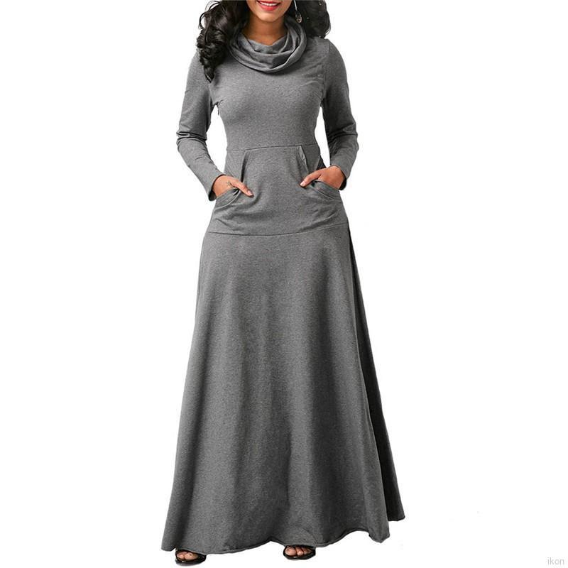 f4acdfb65f3a5 Women Long Dress Casual Long Seleve Slim Maxi Dress