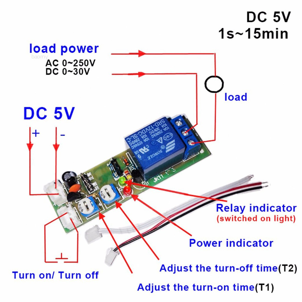 1pc New Dc 5v 12v 24v Infinite Cycle Delay Timing Timer Relay On Off Loop Module Shopee Philippines