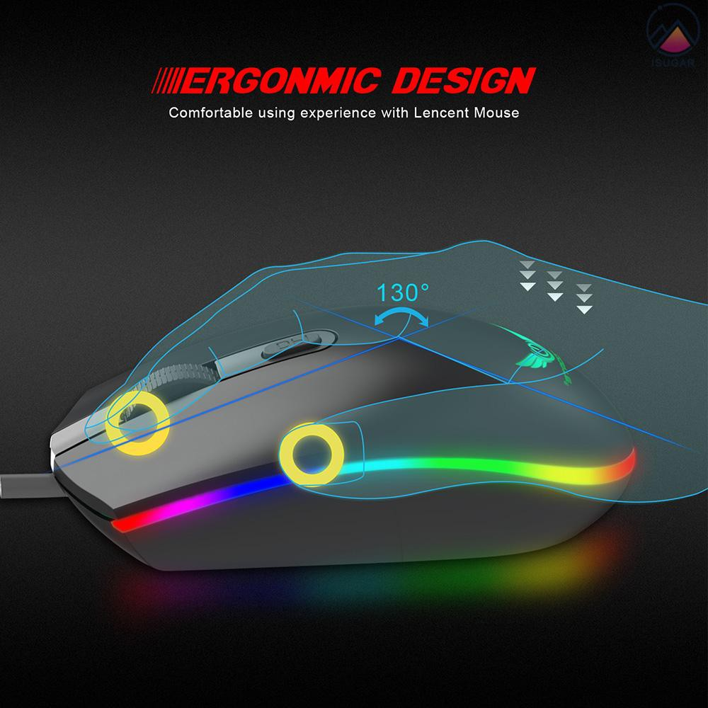 4 Button USB Wired Mouse S900 Backlight RGB LED Optical Mouse 1600DPI Gaming Mouse