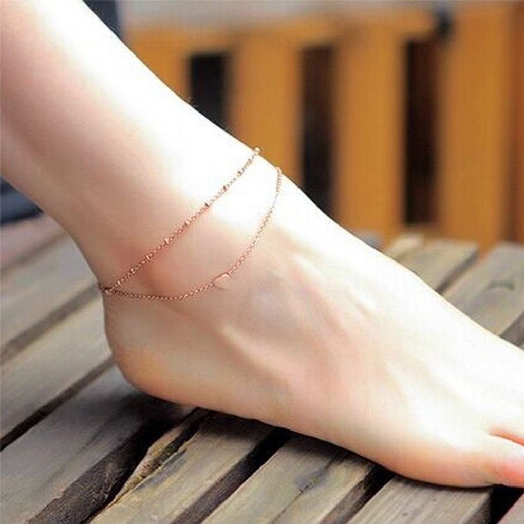Double Chain Sun Anklet Jewelry Boho Beach Section Ankle Bracelet Birthday Gift for Women and Girls