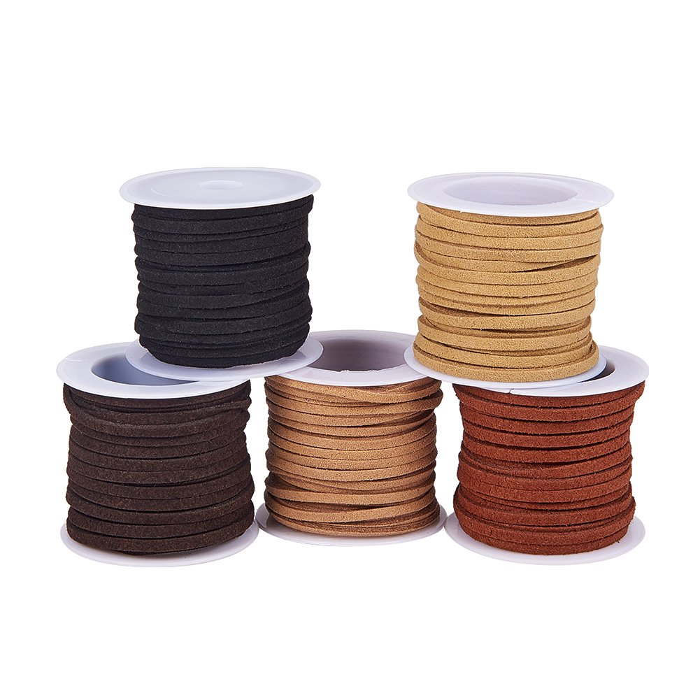 1 Bag Faux Leather Suede Cord Lace Beading Cord 1.5mm thick 5m//roll 5roll//bag