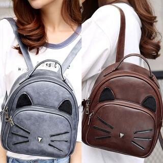 Women's Bags Active Teenagers Girl Pu Leather School Bagpack Cartoon Cat Square Satchel Light Small Backpack Women
